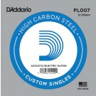 D'Addario PL007 Plain Steel Guitar Single String .007