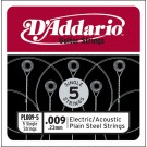 D'Addario PL009-5 Plain Steel Guitar Single String .009 5-pack