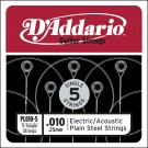 D'Addario PL010-5 Plain Steel Guitar Single String .010 5-pack