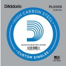 D'Addario PL0105 Plain Steel Guitar Single String .0105