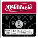 D'Addario PL011-5 Plain Steel Guitar Single String .011 5-pack