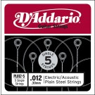 D'Addario PL012-5 Plain Steel Guitar Single String .012 5-pack