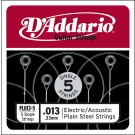 D'Addario PL013-5 Plain Steel Guitar Single String .013 5-pack