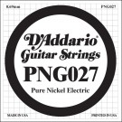 D'Addario PNG027 Pure Nickel Electric Guitar Single String .027