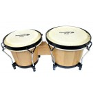 "Percussion Plus 6 & 6-3/4"" Wooden Bongos in Gloss Natural Lacquer Finish in Bongo Bag"