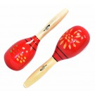 Percussion Plus Wooden Maracas in Red & Patterned Finish
