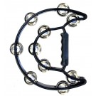 Percussion Plus Half Moon Tambourine with 10-Double Rows of Jingles in Black