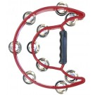 Percussion Plus Half Moon Tambourine with 10-Double Rows of Jingles in Red