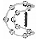 Percussion Plus Half Moon Tambourine with 10-Double Rows of Jingles in White