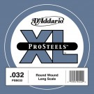D'Addario PSB032 ProSteels Bass Guitar Single String Long Scale .032