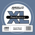 D'Addario PSB080M ProSteels Bass Guitar Single String Medium Scale .080