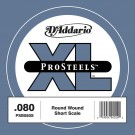 D'Addario PSB080S ProSteels Bass Guitar Single String Short Scale .080