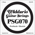 D'Addario PSG070 ProSteels Electric Guitar Single String .070