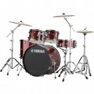 Yamaha Rydeen 5pc Euro Drum Kit Package with Cymbals, Throne Sticks in Burgundy Glitter