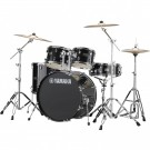 Yamaha Rydeen 5pc Euro Drum Kit Package with Cymbals, Throne Sticks in Black Glitter