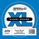 D'Addario SXL070 Nickel Wound Double Ball-End Bass Guitar Single String Long Scale .070