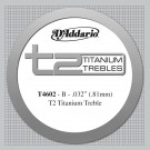 D'Addario T2 Titanium Treble Classical Guitar Single String Hard Tension Second String