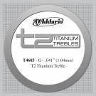 D'Addario T2 Titanium Treble Classical Guitar Single String Hard Tension Third String