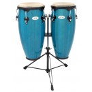 """Toca 10"""" & 11"""" Synergy Wooden Conga Set in Bahama Blue"""