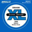 D'Addario XB040M Nickel Wound Bass Guitar Single String Medium Scale .040