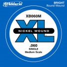 D'Addario XB060M Nickel Wound Bass Guitar Single String Medium Scale .060