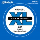 D'Addario XB060SL Nickel Wound Bass Guitar Single String Super Long Scale .060