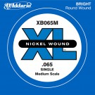 D'Addario XB065M Nickel Wound Bass Guitar Single String Medium Scale .065