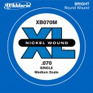 D'Addario XB070M Nickel Wound Bass Guitar Single String Medium Scale .070