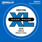 D'Addario XB075M Nickel Wound Bass Guitar Single String Medium Scale .075