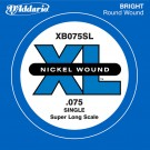 D'Addario XB075SL Nickel Wound Bass Guitar Single String Super Long Scale .075