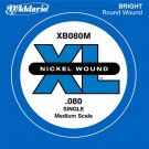 D'Addario XB080M Nickel Wound Bass Guitar Single String Medium Scale .080