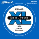 D'Addario XB080S Nickel Wound Bass Guitar Single String Long Scale .080
