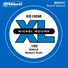 D'Addario XB100M Nickel Wound Bass Guitar Single String Medium Scale .100