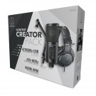 Audio Technica Content Creator USB Mic, Headphones and Stand Combo Pack