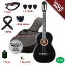 Ashton CG44 Nylon String Guitar Pack Black