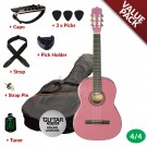 Ashton CG44 Nylon String Guitar Pack - Pink