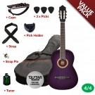 Ashton CG44 Nylon String Guitar Pack - Purple