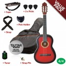 Ashton CG44 Nylon String Guitar Pack - Red