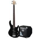 Cort Action PJ Bass Guitar Pack in Black with GE15B Bass Amp