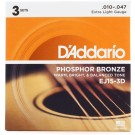 D'Addario 3 Pack of EJ15 Phosphor Bronze Acoustic Guitar Strings 10-47
