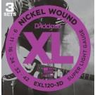 D'Addario 3 Pack of EXL120 9-42 Electric Guitar Strings
