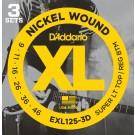 D'Addario 3 Pack of EXL125 9-46 Electric Guitar Strings
