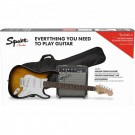 Squier Stratocaster Electric Guitar Pack w/ Frontman 10G Amp in Brown Sunburst