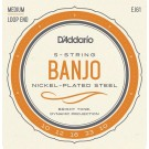 D'Addario EJ61 5-String Banjo Strings Nickel Medium 10-23