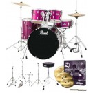 "Pearl Drums Roadshow-X 20"" Fusion Drum Kit Package in Pink Metallic"