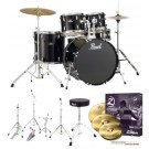 "Pearl Roadshow-X  22"" Fusion Plus Drum Kit Package in Jet Black"