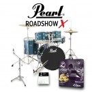 "Pearl Drums Roadshow-X 20"" Fusion Drum Kit Package in Aqua Blue Glitter"