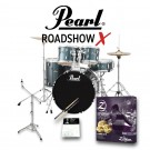 """Pearl  Roadshow X 5pc 22"""" Fusion Plus Drum Kit Package in Charcoal Metallic with Zildjian Cymbal Pack, Hardware, Throne, Sticks"""