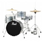 "Pearl Roadshow 18"" 4pc Drum Kit Package W/Cymbals And Hardware - Charcoal Metallic"
