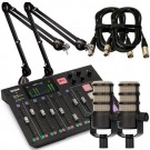 Rode Rodecaster Pro Pack + 2x PodMic, 2x PSA1 & 2x Mic Cables (3m)